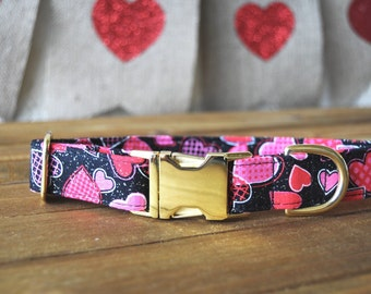 Valentine's Day Dog Collar, Black Gold and Pink, Hearts, Metallic Gold, Male, Female Pet Collar, Gold Metal Buckle
