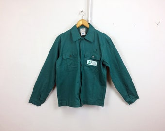 Vintage  Green WORK Jacket . Mens Chore Coat Workwear Lightweight Jacket Parka 1980s Outerwear Utility Style Jacket  Menswear. size Large L