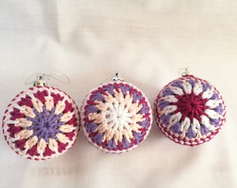 Set of 3 Crochet Christmas Baubles