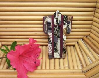 "PIN 3-inch ""Winter"" Kimono. Cotton Origami Kimono Pin: Rich Brown Gray Abstract Landscape. Wearable Art. Wear it. Hang It. Frame It."