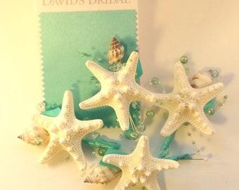 Set of 4 spa blue boutonniere, beach wedding boutonniere, aqua blue boutonniere, coastal wedding, starfish groomsmen, beach prom corsage