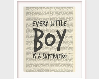 Boy Nursery Decor, Baby Boy Quote, Every Little Boy is a Superhero, Printable Instant Download