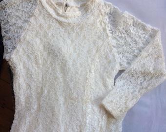 60s vintage white lace button mock neck dress