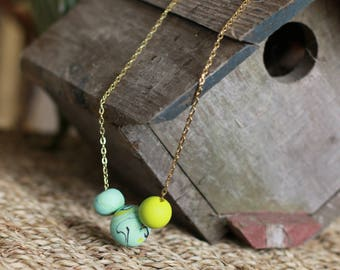 Polymer Clay, Necklace, Turquoise, 27 inch, ClaySong