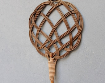 Antique Carpet Beater Rattan Celtic Knot Rug Beater 1910's - 1920's Made in Spain