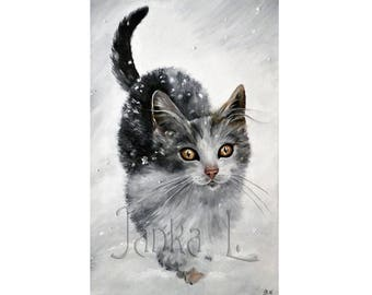 """Kitten in Snow - 10,83"""" x 6,89"""" or 14,57"""" x 9,25"""" Print, cat pet winter signed art nature cute gift"""