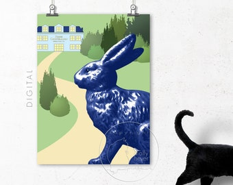 Blue Rabbit Easter Bunny Print, Bright Colours, Printable Kid's Room Wall Decoration, Spring Green Nursery Art, Easter Gift Digital Download