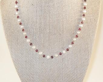 Vintage Jordan Sterling Pearl and Garnet necklace, Vintage Signed Jewelry, Minimalist gemstone necklace, Gingerslittlegems