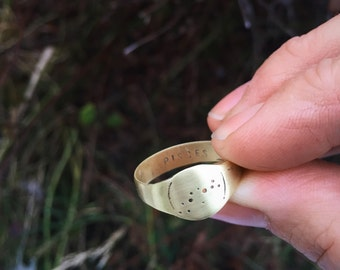 Men's Libra constellation signet ring in bronze - wide band signet ring with zodiac detail