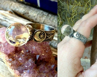 Stevie Dreams - Crystal Ball Ring - Sterling Silver and Quartz Crystal Ball Ring - Your Size - Moon - Stars - Boho - Made to Order