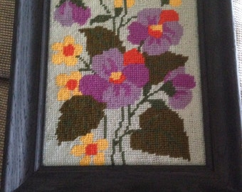 Hand Needlepoint Picture, Pansies in a Wood Frame, VINTAGE CRAFT