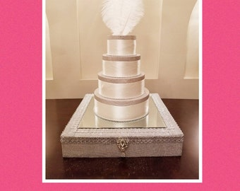 Silver Bedazzled Bling Cake Stand 20 Inch Square