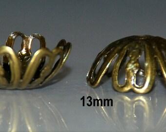 20pcs 13mm Antique Bronze Filigree Bendable Bead Caps Antique Brass