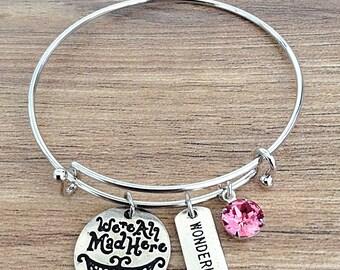 We're All Mad Here Alice In Wonderland Bangle Charm Bracelet With Swarovski Crystal