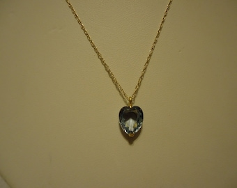 """Fabulous 14k Yellow Gold 3 Carat Heart Shaped Blue Topaz 18"""" Necklace-On Sale Now!"""