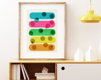 Mid-century modern art, vintage style print, abstract artwork - In and Out of Focus wall art print