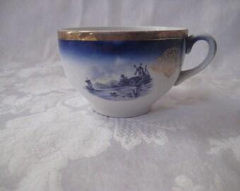 Antique Holland tea cup, Dutch teacup, cobalt blue teacup, vintage teacup, windmill scene