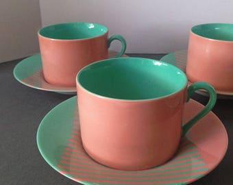 Fitz & Flyod Reprise Pattern, Peach, Coral and Turquoise, Four (4) Cups and Saucers, FF, Japan