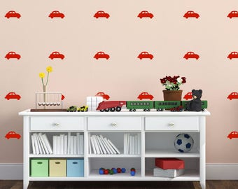 Vintage Car Wall Decals - Kids Wall Art (1 sheet with 20 cars on it)
