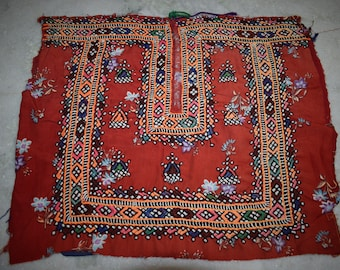 Indian Vintage Neck Yoke Embroidery OF Beads Work And Mirror work Handmade Applique Patch Sewing craft, cotton fabric neck yoke 82