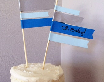 Baby Shower Flag Cake Toppers