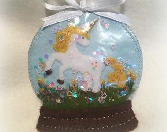 Hand Made Unicorn Felt Snow Globe Ornament