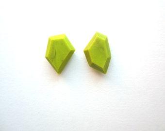 Acid Green Earrings, Geometric Earrings, Colorful Post Earrings, Small Stud Earrings, Modern Earrings, Asymmetrical Geo Silver Earrings
