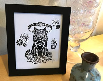 Dia De Los Muertos Cat Day of the Dead 8x10 Black and White Print Wall Art Decor by GIGART