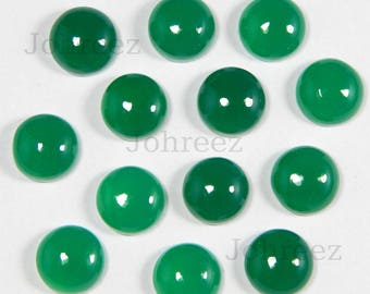 25 Pieces Lot Natural Green Onyx round Shape Gemstone Cabochon Flat Back