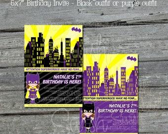 Batgirl Birthday Invitation    Bat girl Birthday Invite   Superhero Party   Superheroes Decorations   Digital Download   Printable Invite