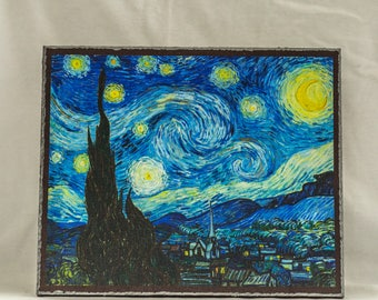 The Starry Night, Painting by Vincent van Gogh, print canvas with handmade finishes, Size 20x24x1.1 cm.