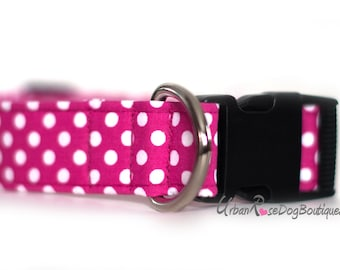 MLLE BETTINA: Dog Collar Pink Polka White Dot Urban Rose Dog Boutique #Dogcollar #Collar #Colorful #Pink #Quality