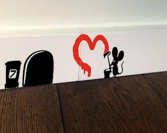 MOUSE GRAFFITI Mice Love Heart decor funny wall art decal stickers Baseboard Kids Mice