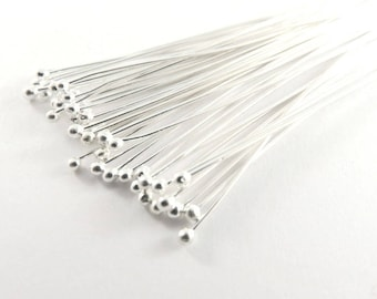 100 Ball Headpins Silver 2.25 inch 21-22 Gauge Plated Brass Ball Pin 1.5 Ball - 100 pc - F4098BHP-S100