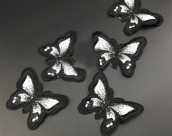 10pcs 5.5x7cm wide black white butterflies pocket embroidered appliques patches za4qws free ship