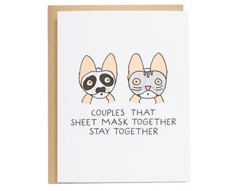 Sheet Mask Together Card, Corgi Dog Card, Boyfriend, Funny Couples Card, Corgi Anniversary Card, Valentine's Day, Funny Valentine Card