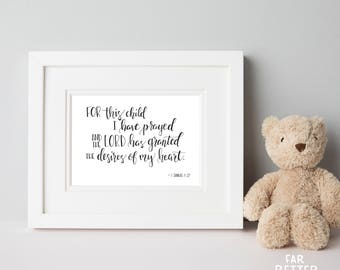 For This Child I Prayed - Christian Nursery Art - Hand Lettered Bible Verse - Nursery Art - Baby Shower Gift - I Samuel 1:27 - Scripture Art