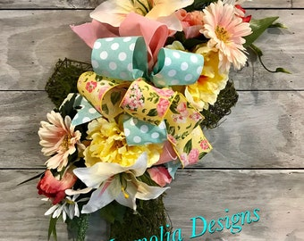 Spring Cross, Easter Cross, Moss Cross, Easter Door Cross, Cross, Floral Cross