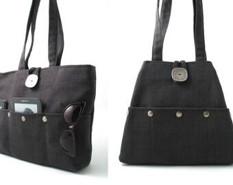 Anthrazit Grau Tasche Hobotasche Multi Tasche Tasche, Wickeltasche, Gobelin-Handtasche, dunkel grau Handtasche, Umhängetasche, Stoffbeutel