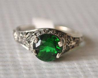 Sterling Silver Emerald Art Deco Ring Sz 8  #9787
