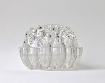 Vintage French glass frog flower holder. Made in France glass flower bowl. Flower holder, pencil holder, makeup brush holder.
