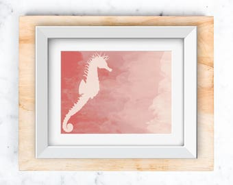 Sea Horse Wall art instant download (Pink) in 5x7 and 8x10