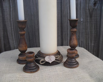 Monogram Rustic Wood Family Unity Candle Set - Item 1126
