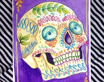 Print - Sugar skull - Original mixed media illustration - 6x4 - Day of the dead - postcard - Dia de muertos - Print - 8x10