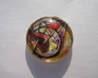 Artistic 25 mm round domed cabochon