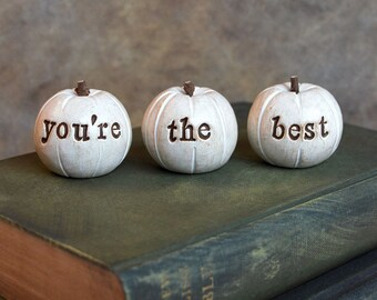 You're the best pumpkins ... handmade keepsake clay fruit ... 3 Word Pumpkins, Holiday gift
