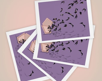 Chocolate Flying Bats, Valentine's Day, Halloween Greeting Cards Size A2, Weird, Funny, Mini Art, Set of FOUR, Blank, Made to Order in USA
