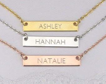 Engraved Bar Necklace Gold Plated, Silver Plated or Rose Gold Plated Finish