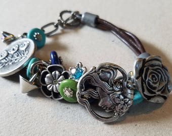 Pewter n Leather Button n Charm Bracelet