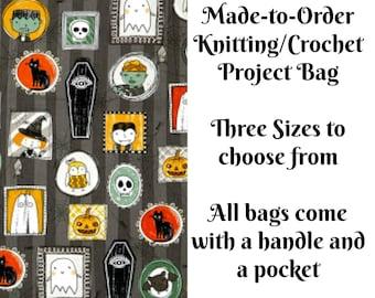Halloween Portraits, Knitting Project Bag, Large Project Bag, Drawstring, Zippered, Sock Sack, Yarn Tote, Sock Project